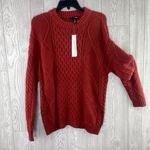 NWT Aqua Women's Sweater SMALL Rust Red Cable Knit Crew Neck Raised Stitch